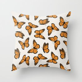 monarch butterflies - orange on bone Throw Pillow