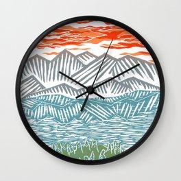 Lake Tahoe Landscape - Linocut Wall Clock