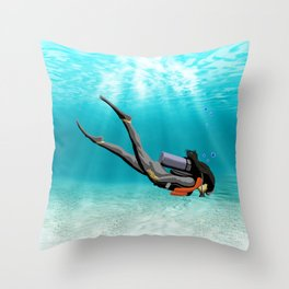 Female S.C.U.B.A. Diver Throw Pillow