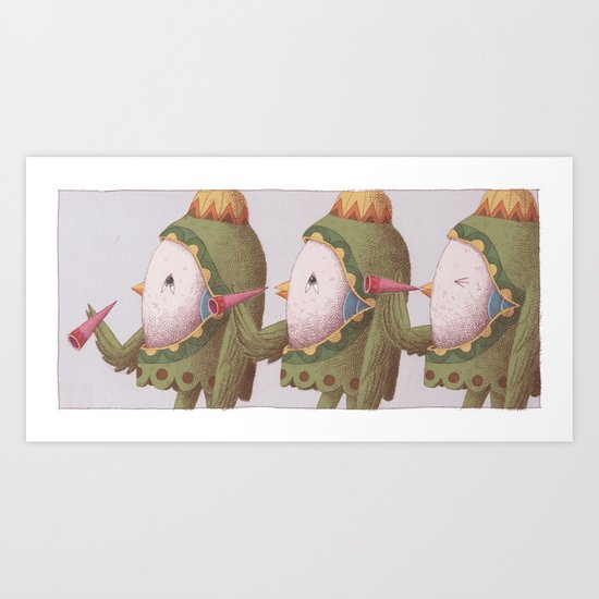 3 Trumpet Birds Art Print