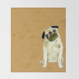 Sitting Pug Throw Blanket