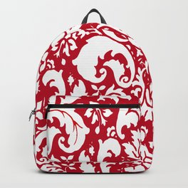 Paisley Damask Red and White Pattern Backpack