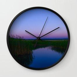 lake in the moonlight night sky Wall Clock
