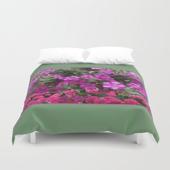 Pink Flowers on Green Duvet Cover