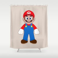 sticker Shower Curtains featuring Sticker Mario by Rebekhaart