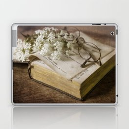 Old book and queen Anna lace flowers Laptop & iPad Skin
