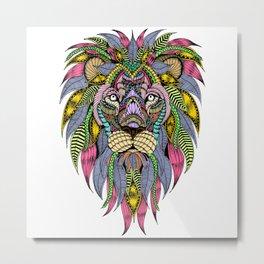 Lion face tangle Metal Print