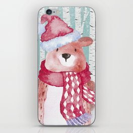 Winter Woodland Friends Cute Bear Snowy Forest Illustration iPhone Skin