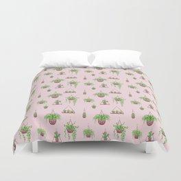 Mother, Macramé I? - Hanging Plants on Pink Duvet Cover