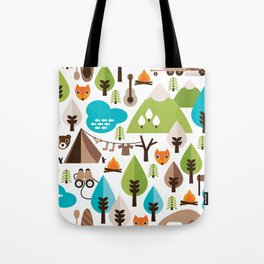 Wild camping trip with fox and wild animals illustration Tote Bag