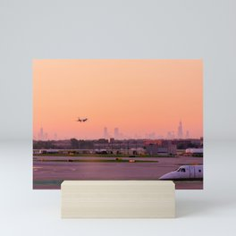 Plane Landing O'Hare Airport Chicago Skyline Sunrise Orange Sky City Mini Art Print