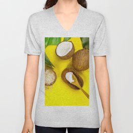Coconut oil, tropical leaves and fresh coconuts, top view Unisex V-Neck
