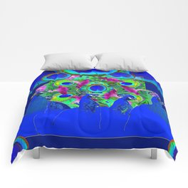 BLUE PEACOCKS & PURPLE MORNING GLORIES Comforters