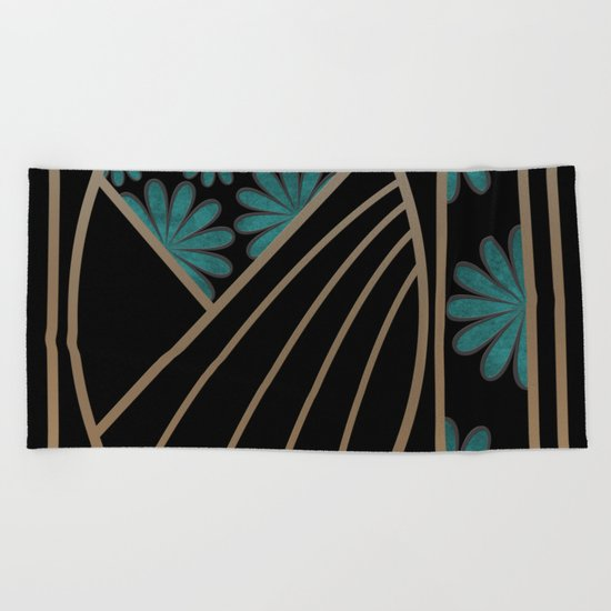 ART DECO FLOWERS (abstract) Beach Towel