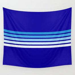 Minimal Maritime Abstract Retro Stripes 70s Style on Blue - Oceanica Wall Tapestry