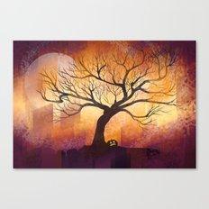 Halloween tree silhouette digital illustration Canvas Print