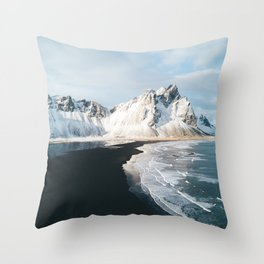 Iceland Mountain Beach - Landscape Photography Throw Pillow