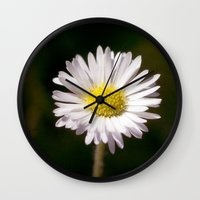 daisy Wall Clocks featuring Daisy by Lori Anne Photography