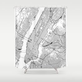 New York City White Map Shower Curtain