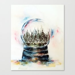 Snow globe - watercolour illustration Canvas Print