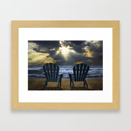Two Adirondack Deck Chairs on the Beach with Waves crashing on the Shore Framed Art Print