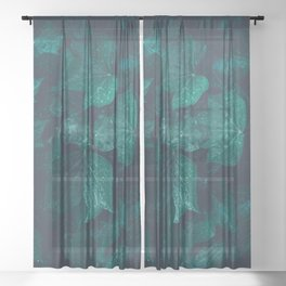 Dark emerald green ivy leaves water drops Sheer Curtain
