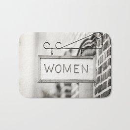 Ladies Room, Women's Restroom Sign Art, Black and White Bathroom Photo Bath Mat