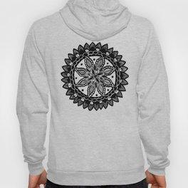 Sunflower Inspired Black and White Hand-Drawn Mandala Hoody