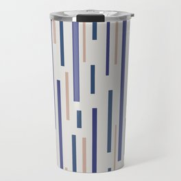 Interrupted Lines Mid-Century Modern Minimalist Pattern in Blue, Purple, and Taupe Travel Mug