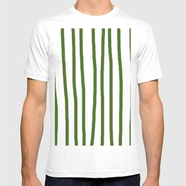 Simply Drawn Vertical Stripes in Jungle Green T-shirt