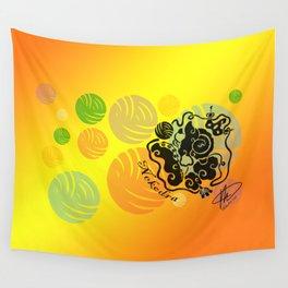 Rainbow Yarn Logo (Fiery Bg) Wall Tapestry