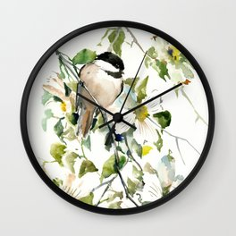 chickadee and dogwood, chickadee art design floral Wall Clock