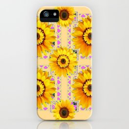 CREAM COLOR WESTERN STYLE YELLOW SUNFLOWERS iPhone Case