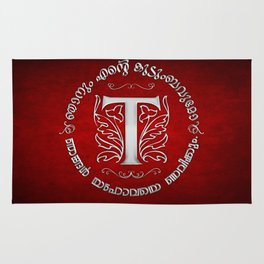 Joshua 24:15 - (Silver on Red) Monogram T Rug