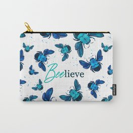 Bees Watercolour Pattern - Beelieve - Blue & Teal Carry-All Pouch
