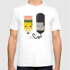 Pencil and Sharpie Buds White SMALL Mens Fitted Tee