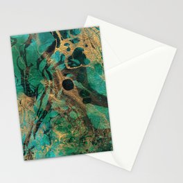 Green and Gold marbled paper Stationery Cards