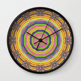 wood festive rainbow mandala Wall Clock