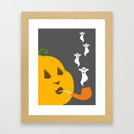 Halloween Smoking Jack o Lantern Framed Art Print
