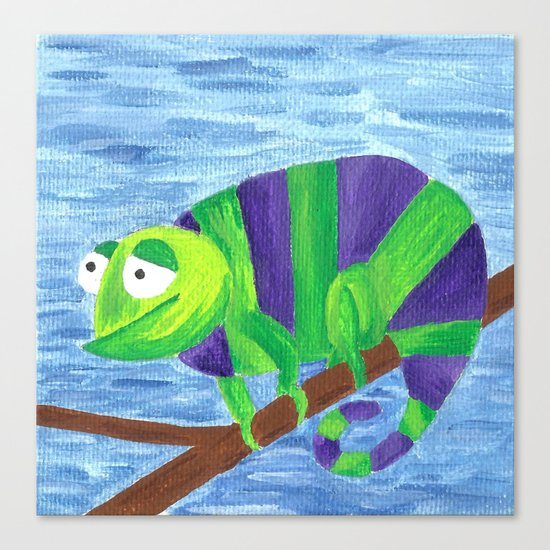Green and Violet Chameleon Canvas Print