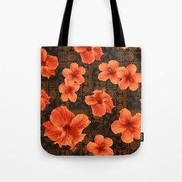 Kalalau Tapa Hawaiian Hibiscus Vintage Inspired Print Tote Bag