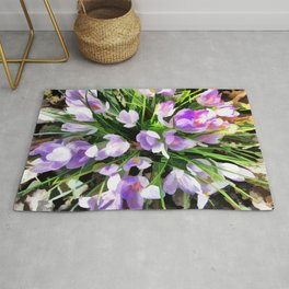 Soft Painterly Crocuses Rug