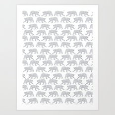 Polar Bears geometric trendy kids bear pattern print for boy or girl gender neutral Art Print