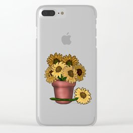 Potted Sunflowers Clear iPhone Case