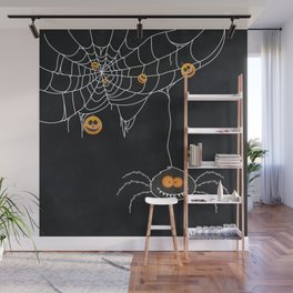 Halloween Spider on Web Wall Mural
