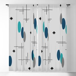 Ovals and Starbursts Teal Blackout Curtain