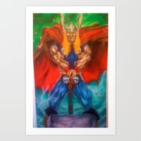 superhero Art Prints featuring superhero by BigboyNoyd