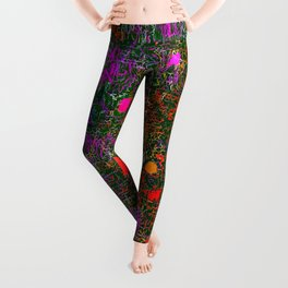 psychedelic abstract art texture background in purple red orange pink Leggings
