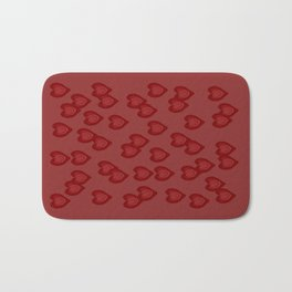 Red Hearts Bath Mat