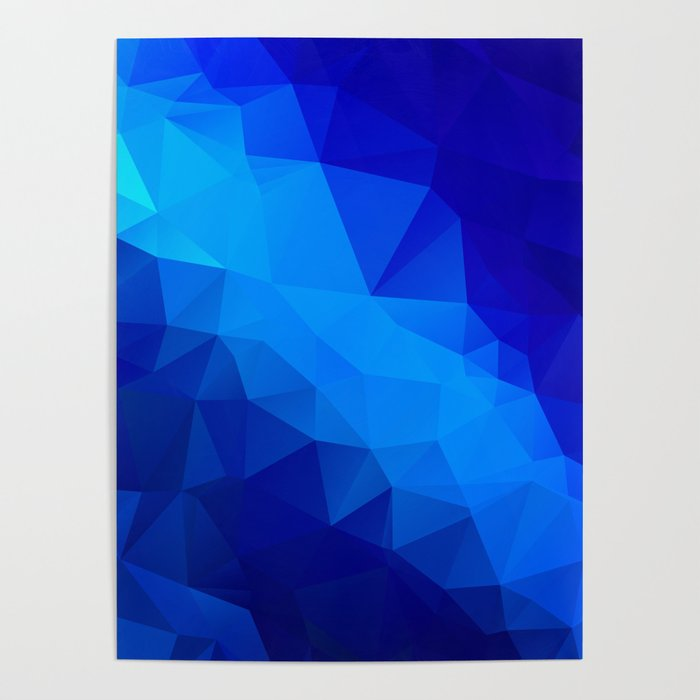 Abstract digital art polygon triangles Poster